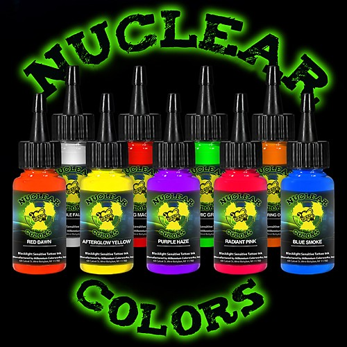Tattoo ink set mom 39 s nuclear uv blacklight colors 9 for Cheap moms tattoo ink
