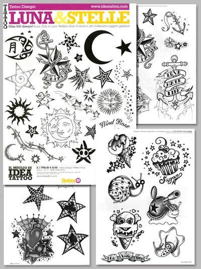 Tattoo Luna & Stelle - Moon and Stars Illustration Flash Book