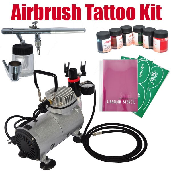 Airbrush Kit for Temporary Tattoo Arts Crafts / Compressor / DUAL ...